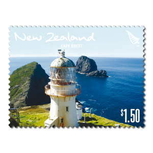 Single $1.50 'Cape Brett' gummed stamp.