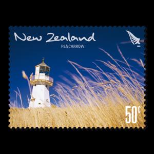 Single 50c 'Pencarrow' gummed stamp.